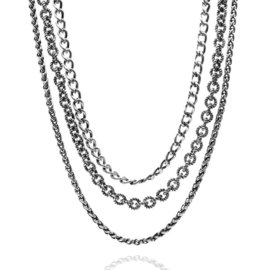 David Yurman Three Strand Sterling Silver Toggle Necklace