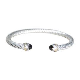 David Yurman 14K Yellow Gold & 925 Sterling Silver Smoky Quartz Cable Cuff Bracelet