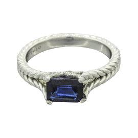 David Yurman Verona Platinum with Iolite & Diamond Cable Engagement Ring Size 6.0