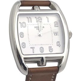 Hermes Cape Cod Grand Modele CT1.710 Brown Leather White Dial 33.5mm Womens Watch