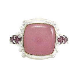 Judith Ripka 925 Sterling Silver Pink Jade & Tourmaline Ring Size 9