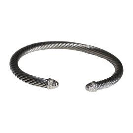David Yurman Sterling Silver Diamond Dome Cuff Bracelet