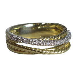 David Yurman Crossover .18ct Diamond with 18K Yellow Gold Ring Size 6