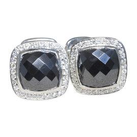 David Yurman Albion Sterling Silver with Hematine and Diamond Cuff Links