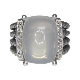 David Yurman Wheaton 925 Sterling Silver with Moon Quartz and Diamond Ring Size 6.5