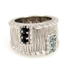 Judith Ripka Sterling Silver Sapphire & Blue Topaz Ring Size 5.75