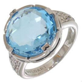 Bulgari Parentesi 18K White Gold Diamonds & Blue Topaz Ring Size 5.75