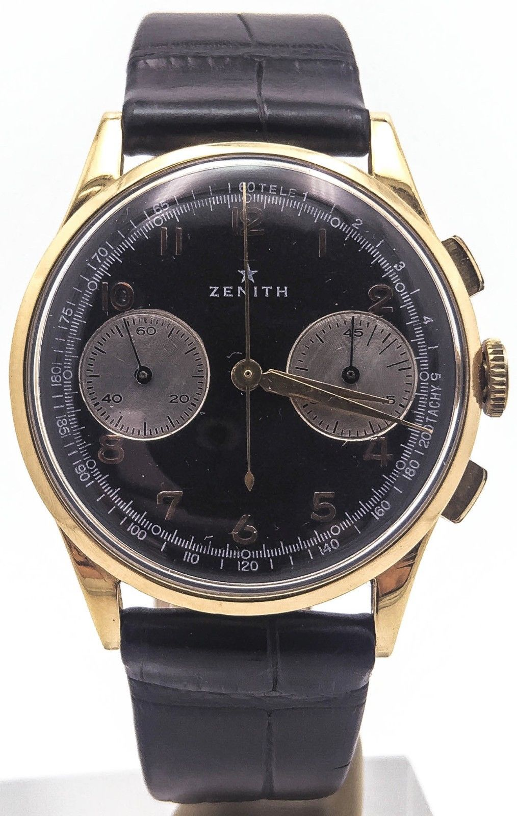 "Image of ""Zenith 18K Yellow Gold Chronograph Black Dial Telemeter 37.5mm Mens"""