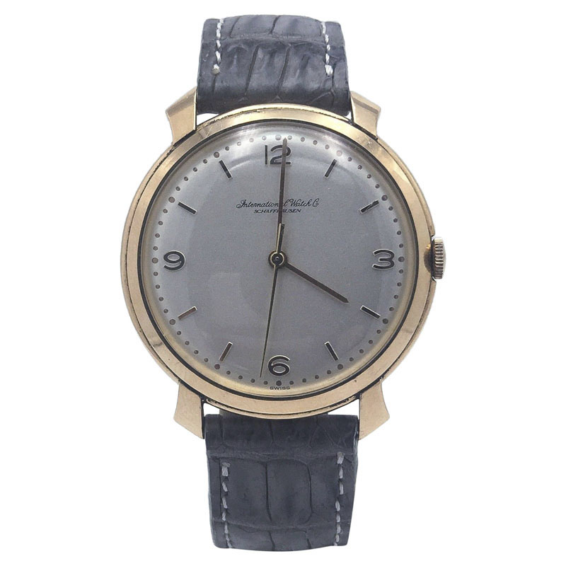 "Image of ""IWC 18K Rose Gold Gray Alligator Strap Manual Wind 37mm Mens Watch"""