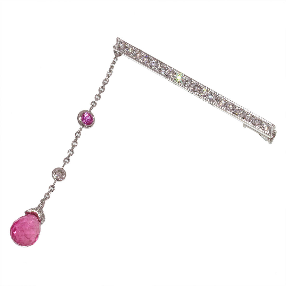 "Image of ""Chaumet 18K White Gold Diamonds & Pink Tourmaline Pin Brooch"""