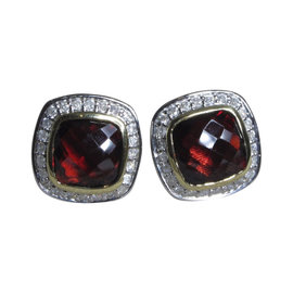 David Yurman Petite Albion 925 Sterling Silver and 14K Yellow Gold with Garnet and Diamond Earrings