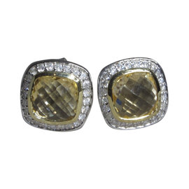 David Yurman Petite Albion 18K Yellow Gold and 925 Sterling Silver with Citrine and Diamond Earrings
