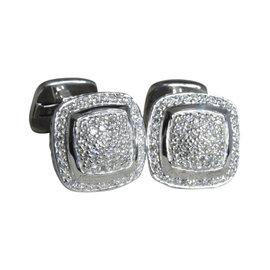 David Yurman Albion 925 Sterling Silver with Pave Diamond Cufflinks