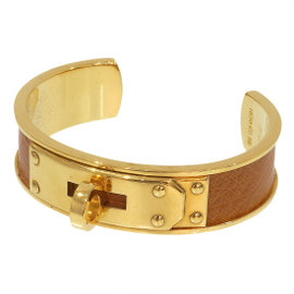 Hermes Kelly Gold Tone Hardware Brown Leather Bracelet Bangle