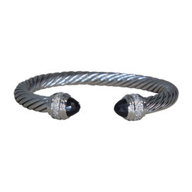 David Yurman 925 Sterling Silver with Diamond and Onyx Cuff Bracelet