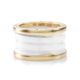 Bulgari B.Zero1 White Ceramic and 18K Rose Gold Ring Size 5