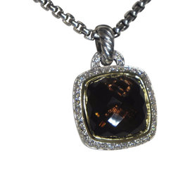 David Yurman Albion 925 Sterling Silver and 18K Yellow Gold with Smoky Quartz Pendant