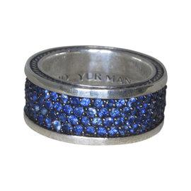 David Yurman Streamline 925 Sterling Silver 3.5ct Sapphire Band Ring Size 9.5