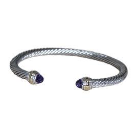 David Yurman 14K Yellow Gold & 925 Sterling Silver Amethyst Cable Cuff Bracelet