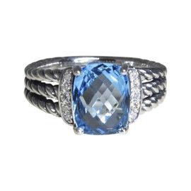 David Yurman Petite Wheaton 925 Sterling Silver Blue Topaz Diamond Ring Size 6.5