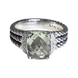 David Yurman Petite Wheaton 925 Sterling Silver Prasiolite Diamond Ring Size 6.5