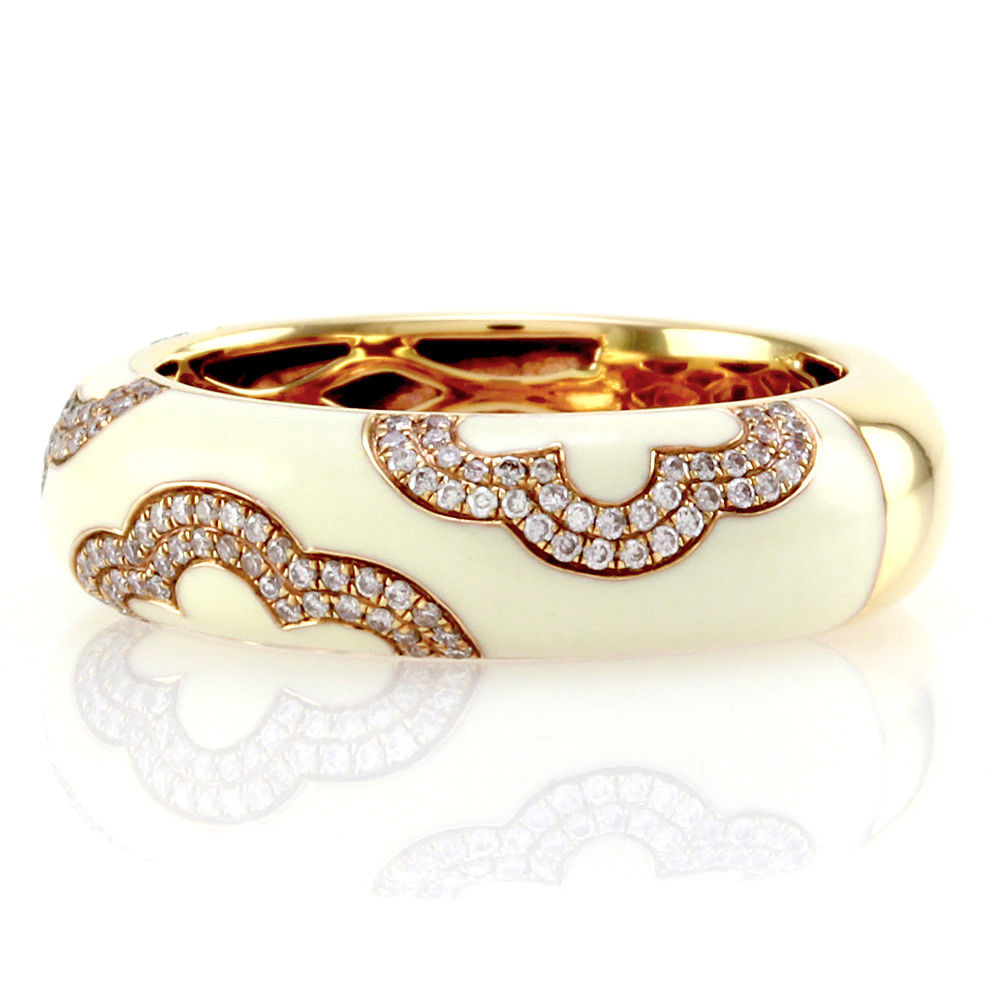 "Image of ""Hidalgo 18K Rose Gold & Enamel with Diamond Band Ring Size 6.25"""