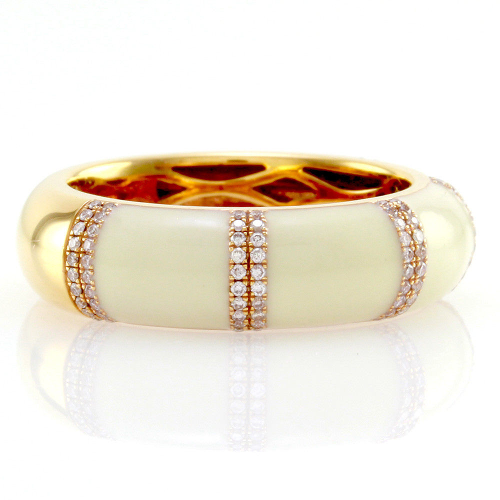 "Image of ""Hidalgo 18K Rose Gold & White Enamel with Diamond Band Ring Size 6.25"""
