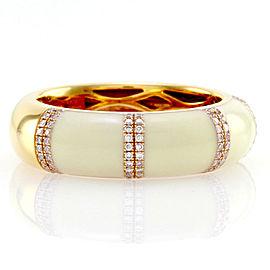 Hidalgo 18K Rose Gold & White Enamel with Diamond Band Ring Size 6.25