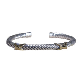 David Yurman 14K Yellow Gold & 925 Sterling Silver Double X Bracelet