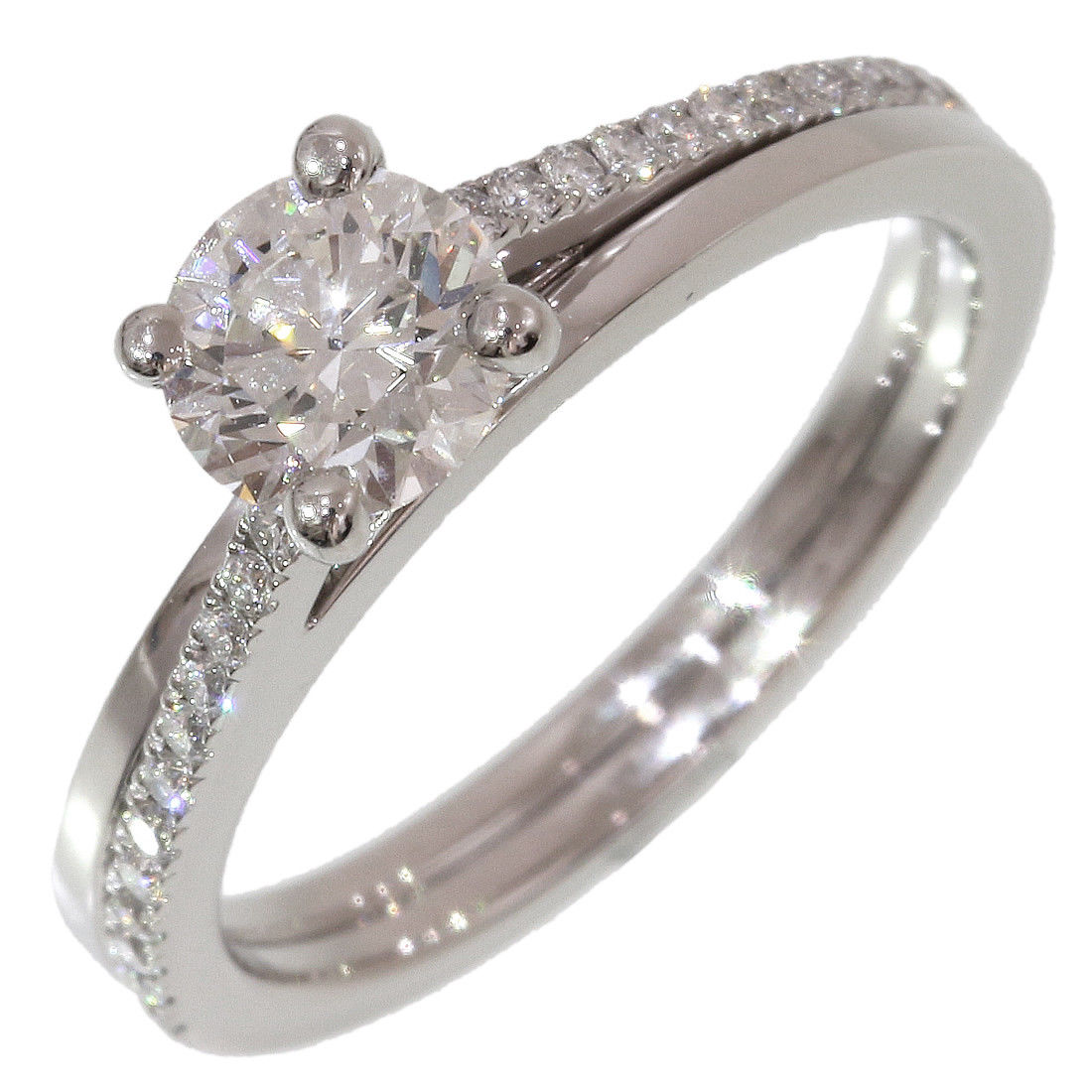 "Image of ""De Beers 950 Platinum 0.61ct Diamond Ring Size 3.75"""