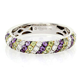 Hidalgo 18K White Gold Diamond, Peridot and Amethyst Band Ring Size 6.25