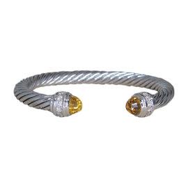David Yurman 925 Sterling Silver Citrine Cuff Diamond Bracelet