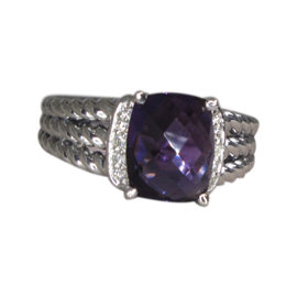 David Yurman Petite Wheaton 925 Sterling Silver Amethyst Diamond Ring Size 7.5