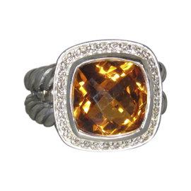 David Yurman Albion 925 Sterling Silver Citrine Diamond Ring Size 7