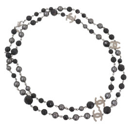 Chanel Silver Tone Hardware Black Beads and Faux Pearl Necklace