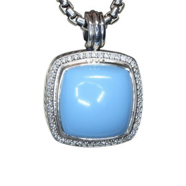 David Yurman Albion 925 Sterling Silver with Turquoise & Diamond Pendant