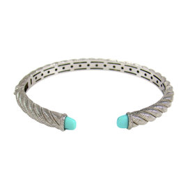 Judith Ripka Sterling Silver & Sleeping Beauty Turquoise Cuff Bracelet