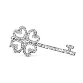 Tiffany & Co. 950 Platinum & Diamond Quatra Heart Key Pendant