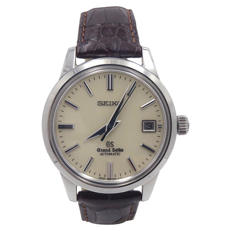 """Image of """"Seiko Sbgr261 Stainless Steel & Leather Cream Dial Automatic 40mm Mens"""""""