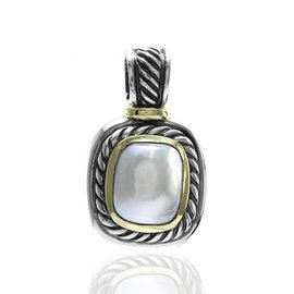 David Yurman Albion 925 Sterling Silver and 14K Yellow Gold Pearl Pendant