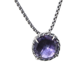 David Yurman 925 Sterling Silver with Amethyst Chatelaine Necklace