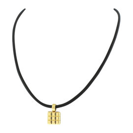 Chopard 18K Yellow Gold and Black Leather Strap Ice Cube Pendant Choker Necklace