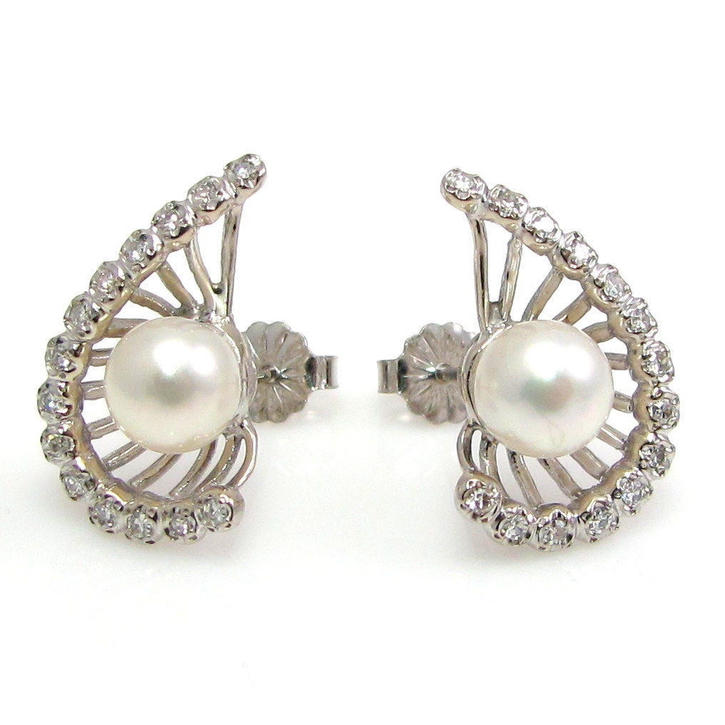 "Image of ""14k White Gold Diamond & Pearl Stud Earrings"""