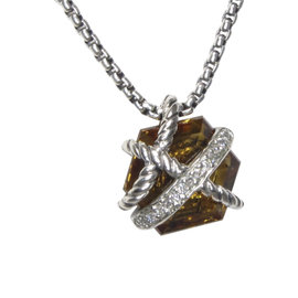 David Yurman 925 Sterling Silver with Citrine and Diamond Necklace