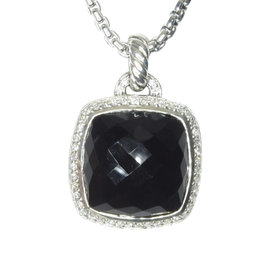 David Yurman Albion 925 Sterling Silver with Onyx and Diamond Enhancer Pendant