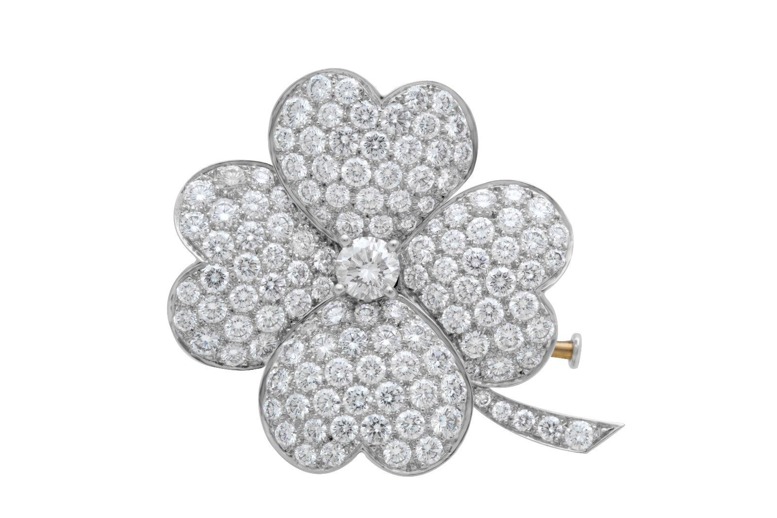 "Image of ""Van Cleef and Arpels 18K White Gold Diamond Cosmos Brooch Pendant"""