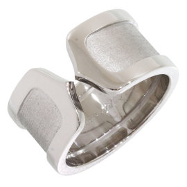 Cartier 18K White Gold Double C Motif Ring Size 5.5