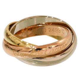 Cartier Trinity de 18K Yellow, White & Rose Gold 3 Bands Ring Size 6.25