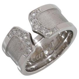 Cartier 18K White Gold Diamonds Double C Motif Ring Size 7.25