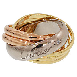 Cartier Trinity Labelle 18K Yellow, White & Pink Gold Diamond 5 Bands Ring Size 4.75